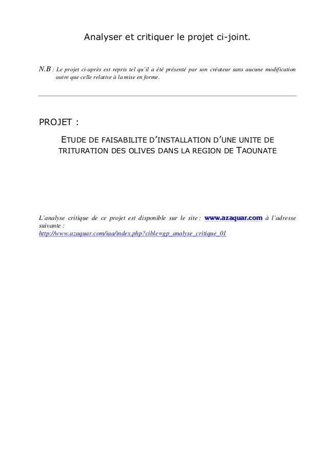 Analyser et critiquer le projet ci-joint.N.B : Le projet ci-après est repris tel  qu'il a été présenté par son créateur sa...