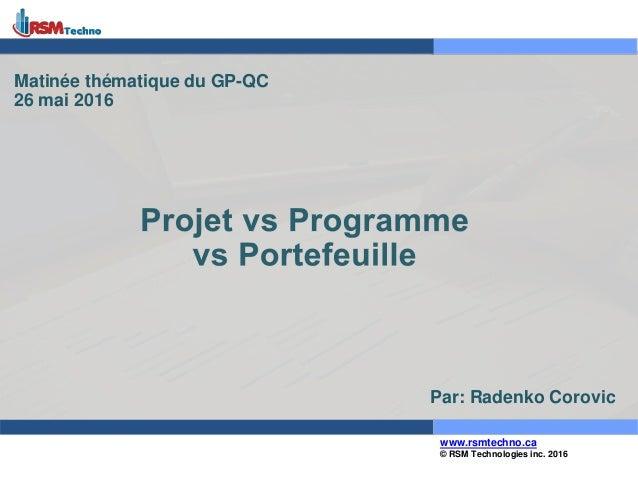 © RSM Technologies inc. 2016 www.rsmtechno.ca Matinée thématique du GP-QC 26 mai 2016 Par: Radenko Corovic