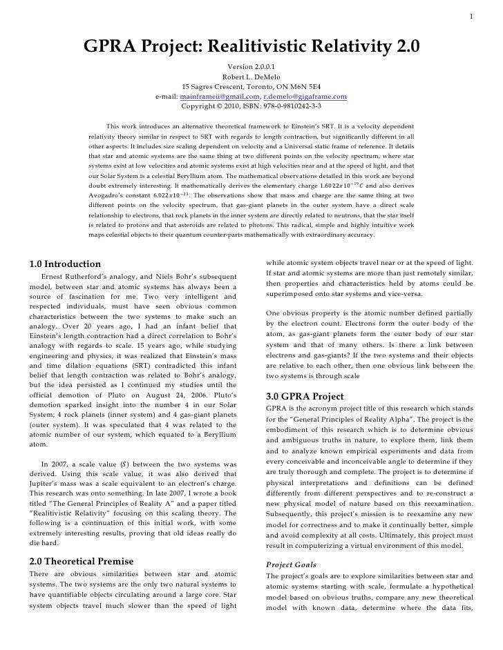 1                GPRA Project: Realitivistic Relativity 2.0                                                               ...