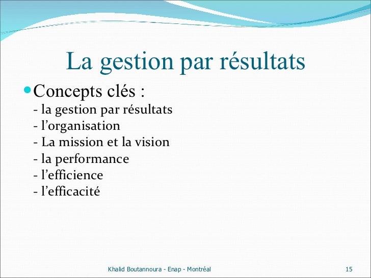 La gestion par résultats <ul><li>Concepts clés : - la gestion par résultats - l'organisation - La mission et la vision  - ...