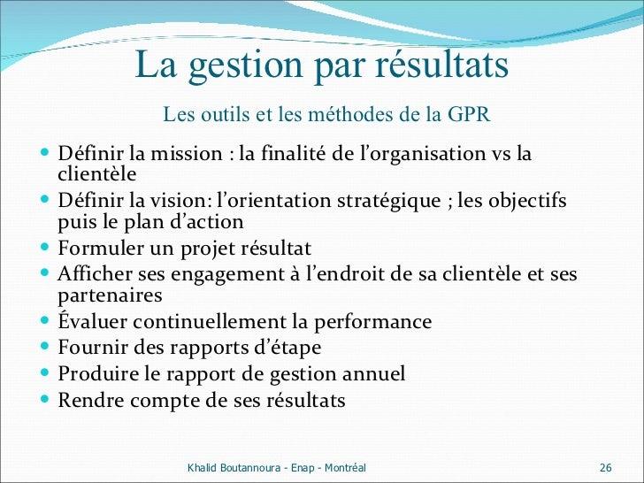 La gestion par résultats   Les outils et les méthodes de la GPR <ul><li>Définir la mission : la finalité de l'organisation...