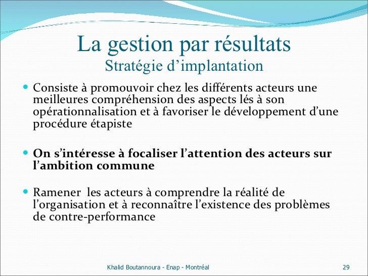 La gestion par résultats Stratégie d'implantation <ul><li>Consiste à promouvoir chez les différents acteurs une meilleures...