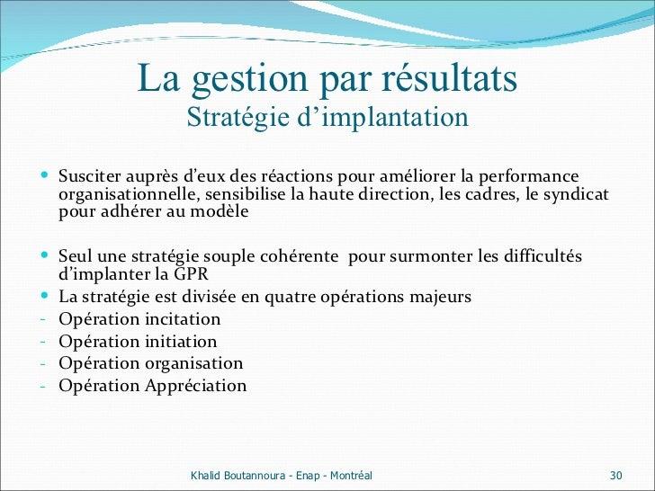 La gestion par résultats Stratégie d'implantation <ul><li>Susciter auprès d'eux des réactions pour améliorer la performanc...