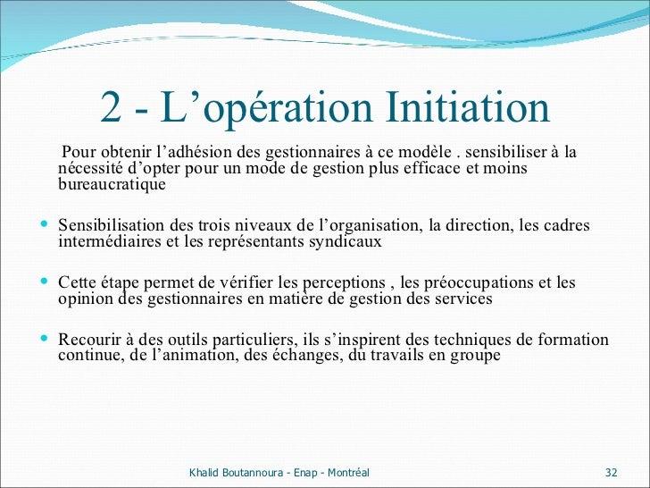 2 - L'opération Initiation <ul><li>Pour obtenir l'adhésion des gestionnaires à ce modèle . sensibiliser à la nécessité d'o...