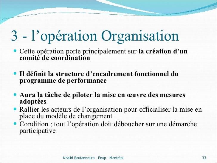 3 - l'opération Organisation <ul><li>Cette opération porte principalement sur  la création d'un comité de coordination   <...
