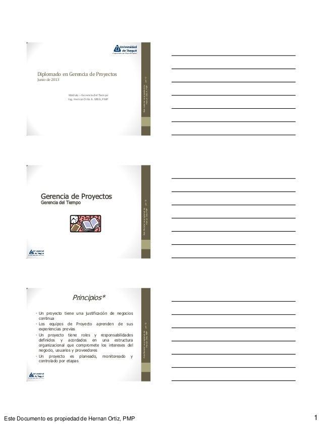 Este Documento es propiedad de Hernan Ortiz, PMP 1Diplomado en Gerencia de ProyectosJunio de2013Módulo – Gerenciadel Tiemp...