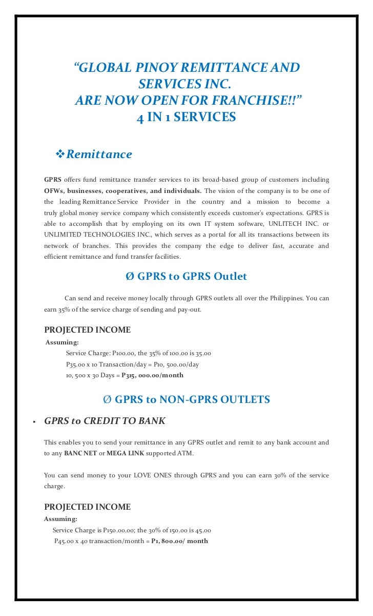 """GLOBAL PINOY REMITTANCE AND                        SERVICES INC.                ARE NOW OPEN FOR FRANCHISE!!""            ..."