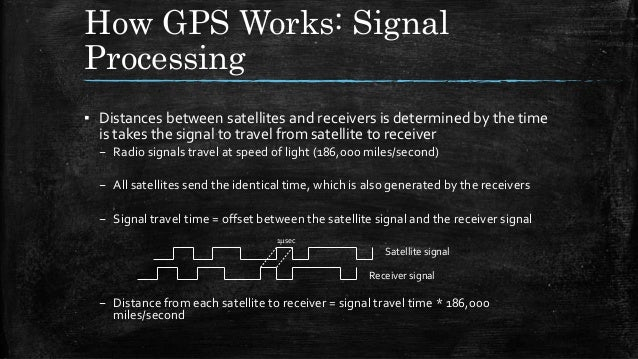 How GPS Works: Signal Processing ▪ Distances between satellites and receivers is determined by the time is takes the signa...