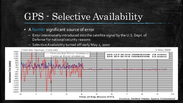 GPS - Selective Availability ▪ A former significant source of error – Error intentionally introduced into the satellite si...