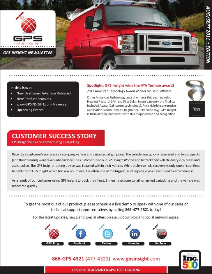 AUG/SEPT 2011 :: EDITION..... . . . . .. . . . . . . . . . ..... GPS INSIGHT NEWSLETTER      .. . . . . . . . . . . . . . ...