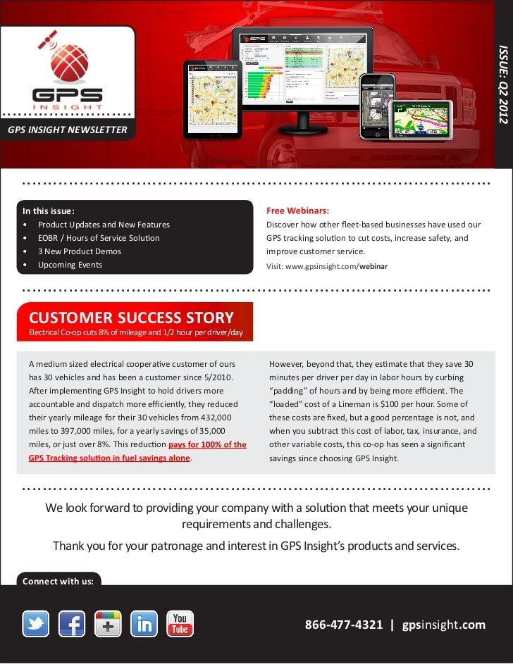 ISSUE: Q2 2012. .... .. . . . . . . . . . . . . . .. . . . GPS INSIGHT NEWSLETTER      ... . . . . . . . . . . . . . .. . ...