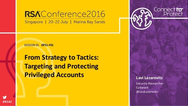 SESSION ID: #RSAC Lavi Lazarovitz From Strategy to Tactics: Targeting and Protecting Privileged Accounts GPS1-F01 Security...