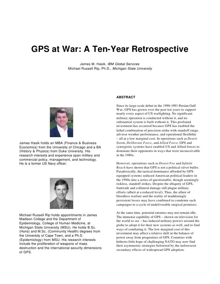 GPS at War: A Ten-Year Retrospective                                       James M. Hasik, IBM Global Services            ...