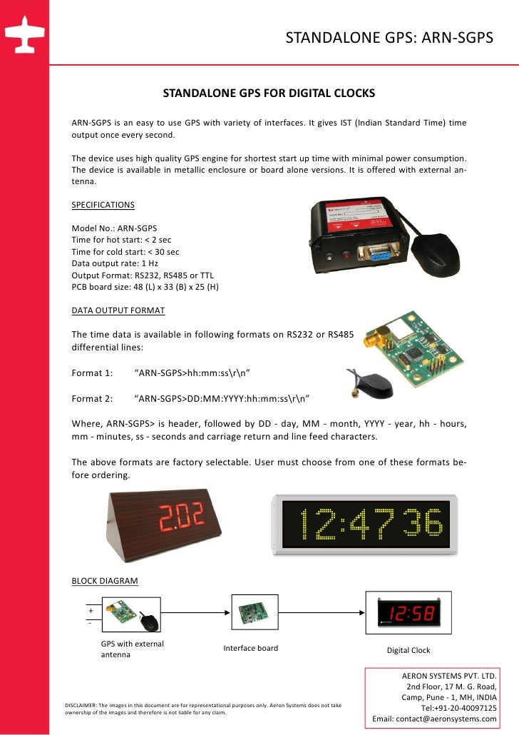 STANDALONE GPS: ARN‐SGPS                                          STANDALONE GPS FOR DIGITAL CLOCKS        ARN‐SGPS is  an...