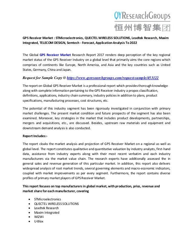 GPS Receiver Market : STMicroelectronics, QUECTEL WIRELESS