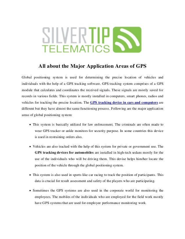 All about the Major Application Areas of GPS  Global positioning system is used for determining the precise location of ve...