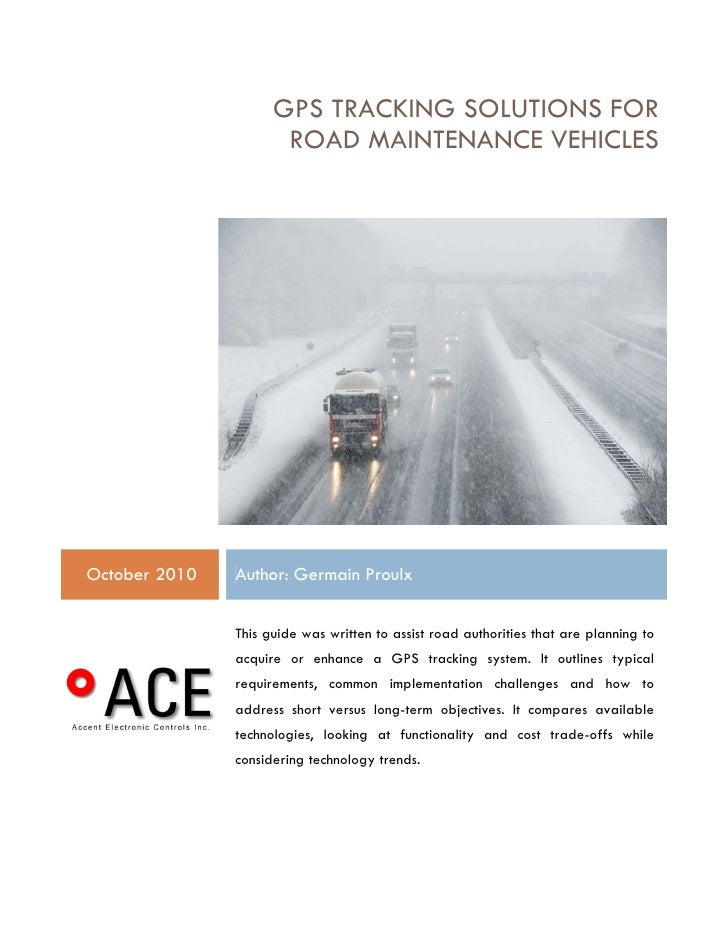 Gps Tracking Systems For Road Maintenance Operations