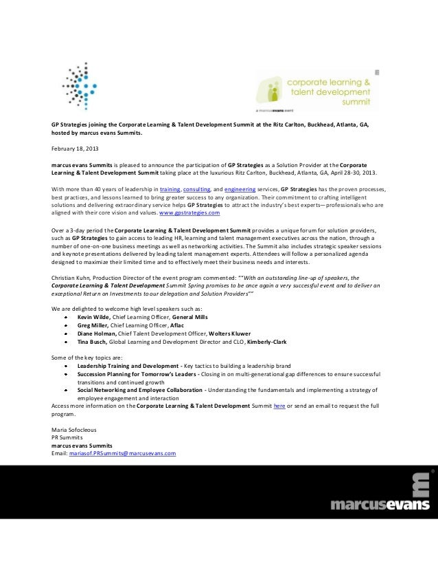 GP Strategies joining the Corporate Learning & Talent Development Summit at the Ritz Carlton, Buckhead, Atlanta, GA,hosted...