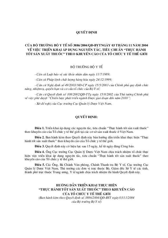 QUYÕT §ÞNH CñA Bé TR¦ëNG Bé Y TÕ Sè 3886/2004/Q§-BYTNGµY 03 TH¸NG 11 N¡M 2004 VÒ VIÖC TRIÓN KHAI ¸P DôNG NGUY£N T¾C, TI£U ...