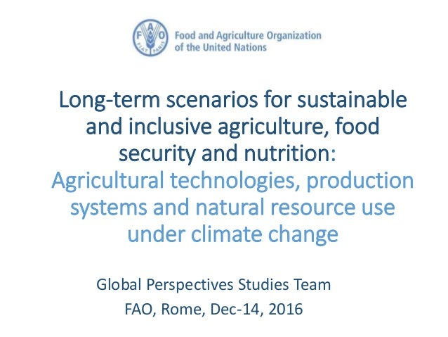 Long-term scenarios for sustainable and inclusive agriculture, food security and nutrition: Agricultural technologies, pro...