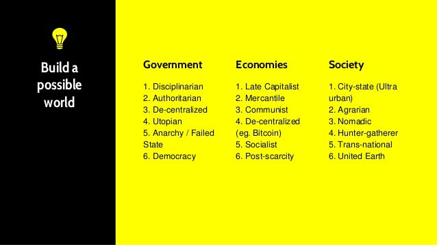 Build a possible world Government 1. Disciplinarian 2. Authoritarian 3. De-centralized 4. Utopian 5. Anarchy / Failed Stat...