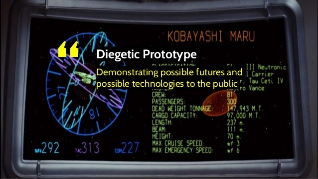 """"""" Diegetic Prototype Demonstrating possible futures and possible technologies to the public"""