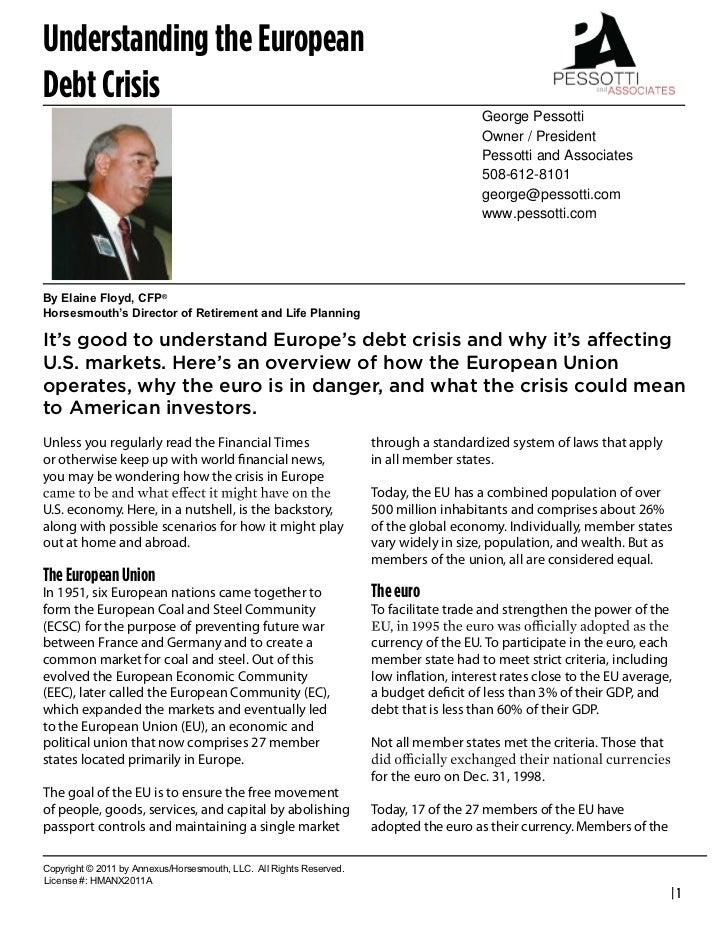 Understanding the EuropeanDebt Crisis                                                                                     ...