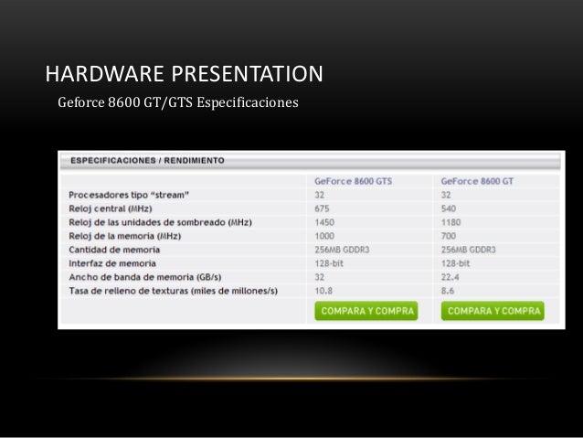 HARDWARE PRESENTATIONGeforce 8600 GT/GTS Especificaciones