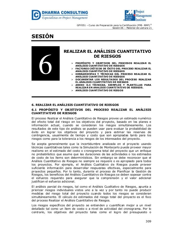 GPY051 – Curso de Preparación para la Certificación (PMI- RMP) ® Sesión 06 – Material de Lectura v1  SESIÓN  6  REALIZAR E...