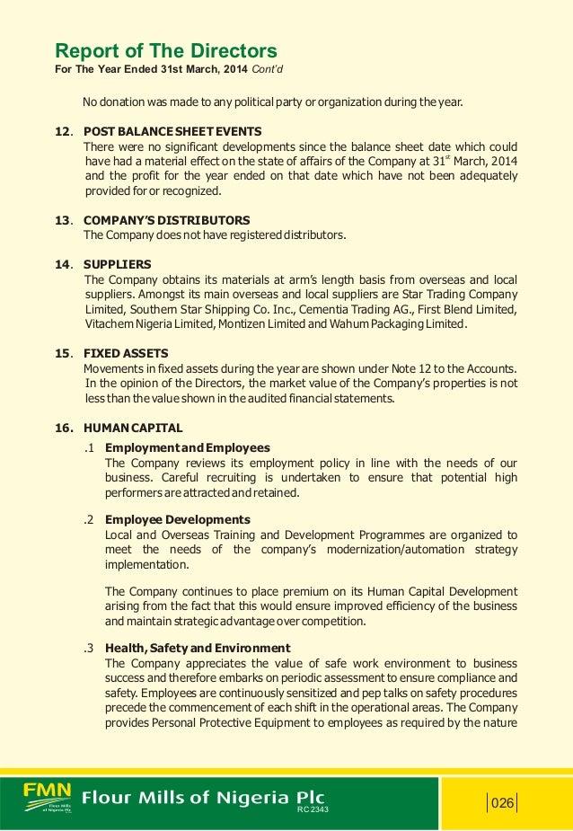 Flour Mills Nigeria Annual Report 2014