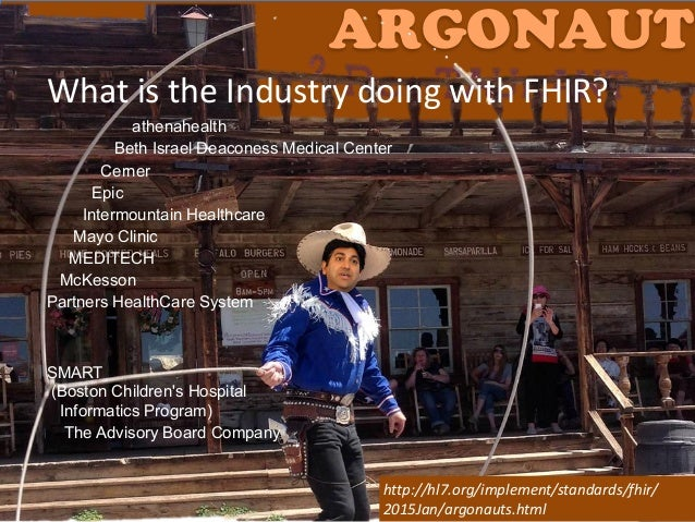 """@ekivemark ARGONAUT What""""is""""the""""Industry""""doing""""with""""FHIR? athenahealth Beth Israel Deaconess Medical Center Cerner Epic In..."""