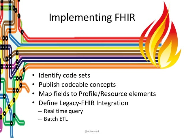 """@ekivemark Implementing""""FHIR • Identify""""code""""sets"""" • Publish""""codeable""""concepts"""" • Map""""fields""""to""""Profile/Resource""""elements""""..."""