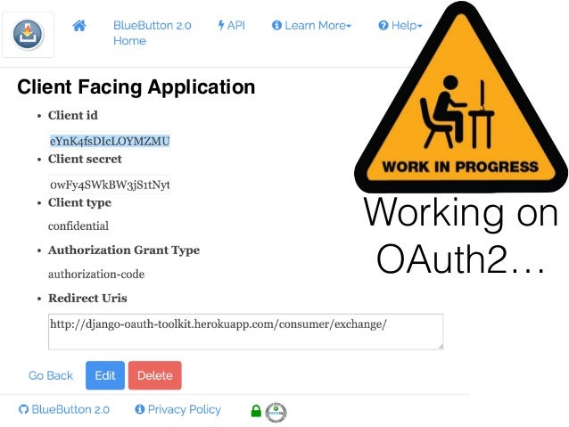 Working on OAuth2… Client Facing Application