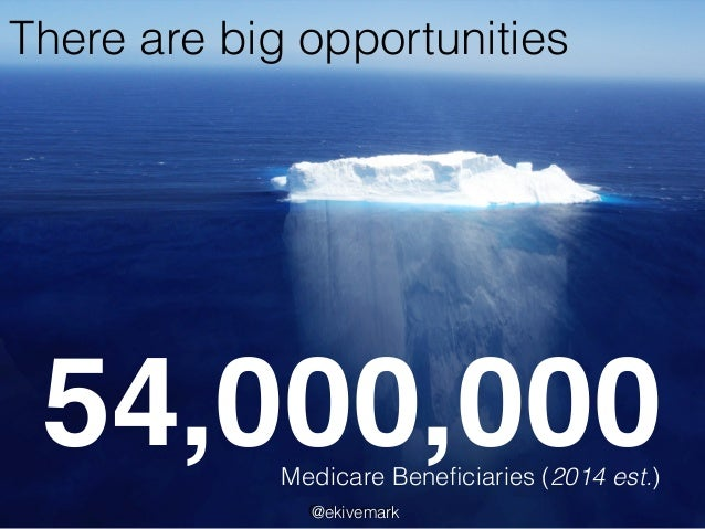 There are big opportunities 54,000,000Medicare Beneficiaries (2014 est.) @ekivemark@ekivemark