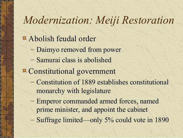 Modernization: Meiji Restoration Japanese industrialization – Modernize the military, transportation, communication, educa...