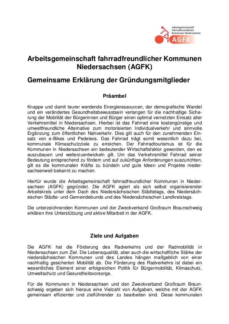 Arbeitsgemeinschaft fahrradfreundlicher Kommunen             Niedersachsen (AGFK)Gemeinsame Erklärung der Gründungsmitglie...