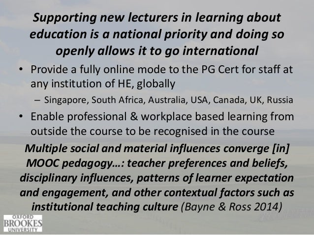 Supporting new lecturers in learning about education is a national priority and doing so openly allows it to go internatio...