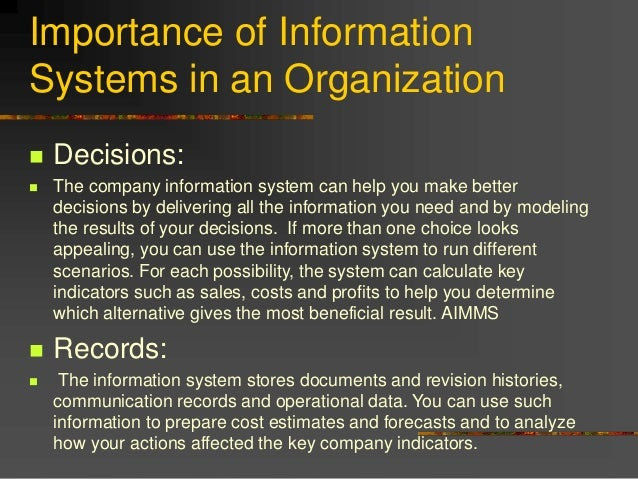 importance of information systems The importance of management information systems the authors wb adeoti-adekeye, library department, university of ilorin, ilorin, nigeria abstract.