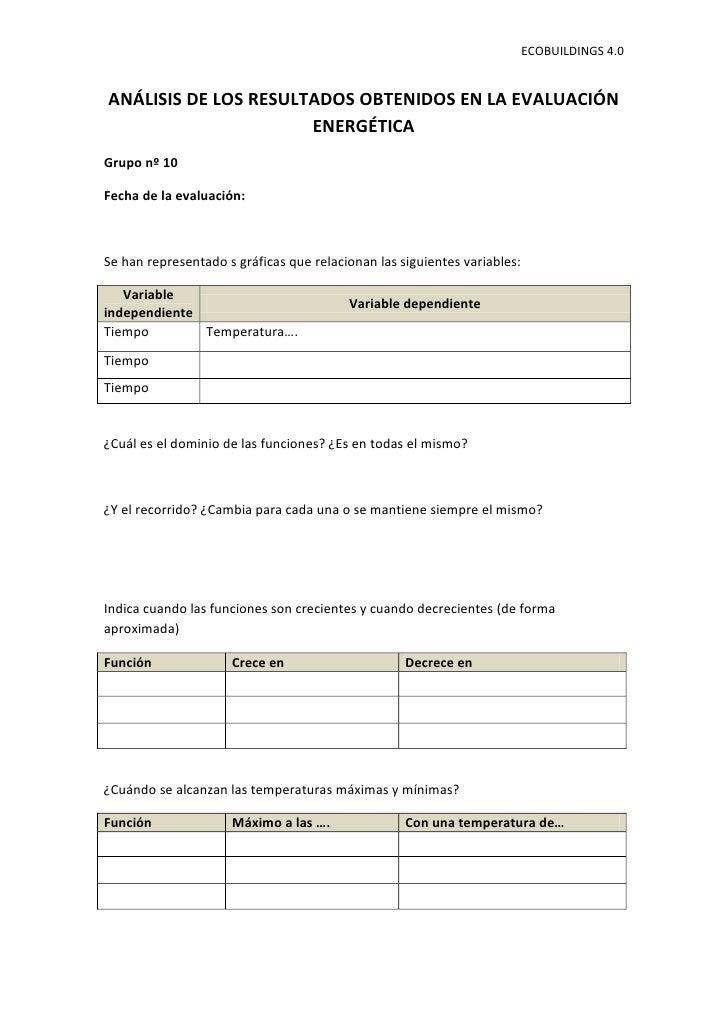 ECOBUILDINGS 4.0ANÁLISIS DE LOS RESULTADOS OBTENIDOS EN LA EVALUACIÓN                      ENERGÉTICAGrupo nº 10Fecha de l...