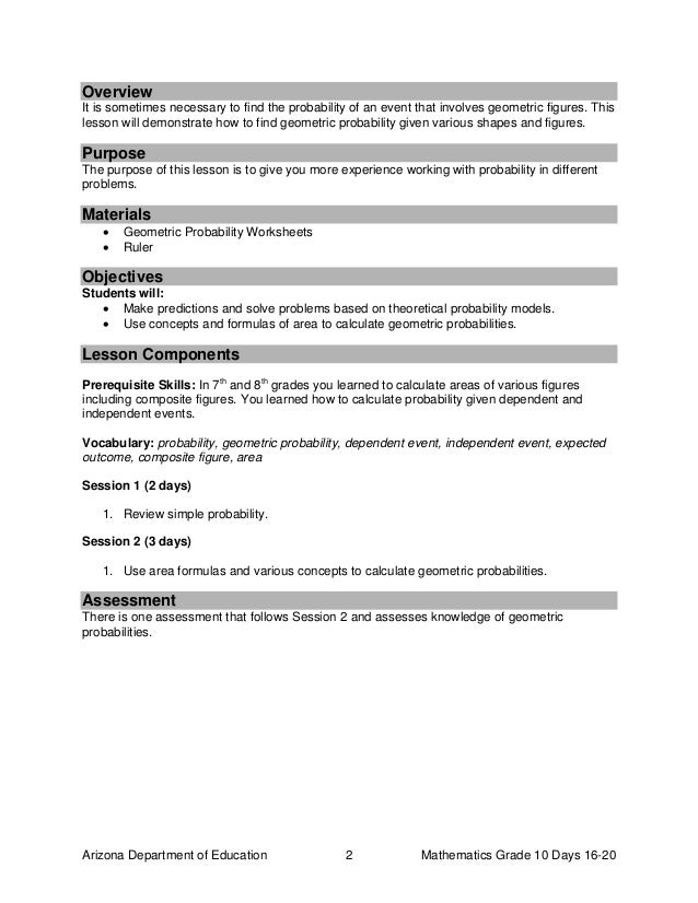 Gr10 mathcomplete – Geometric Probability Worksheet