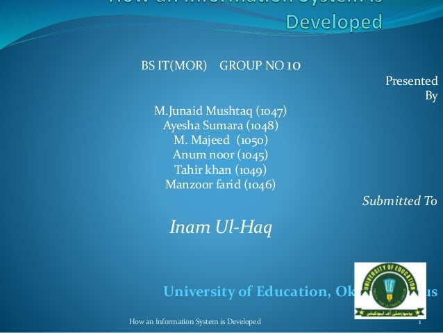 BS IT(MOR) GROUP NO 10 Presented By M.Junaid Mushtaq (1047) Ayesha Sumara (1048) M. Majeed (1050) Anum noor (1045) Tahir k...