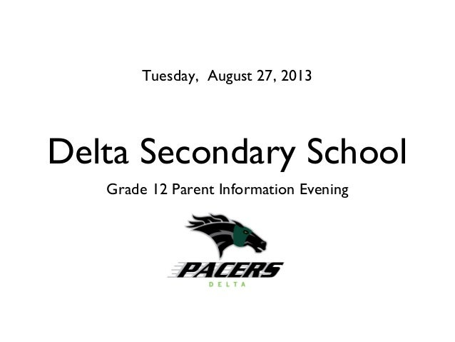 Delta Secondary School Grade 12 Parent Information Evening Tuesday, August 27, 2013