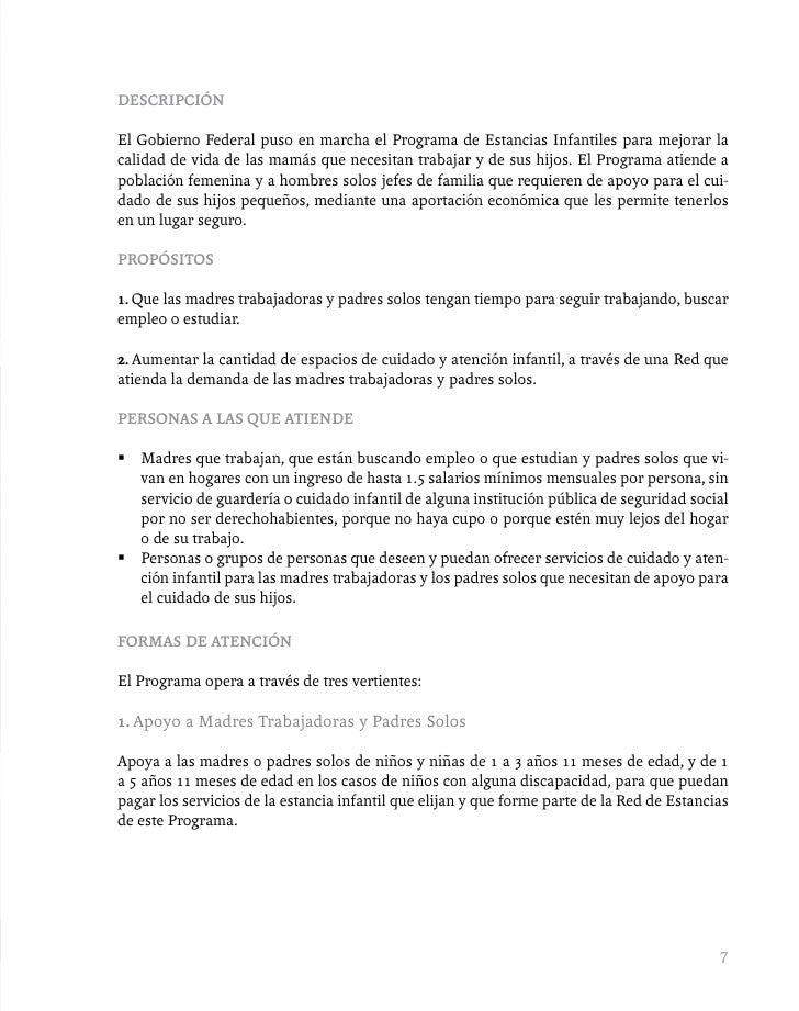 Gu a r pida de los programas sociales 2010 for Requisitos para abrir una guarderia