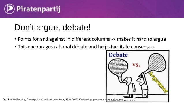 • Points for and against in different columns -> makes it hard to argue • This encourages rational debate and helps facili...