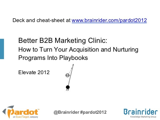 Deck and cheat-sheet at www.brainrider.com/pardot2012  Better B2B Marketing Clinic:  How to Turn Your Acquisition and Nurt...