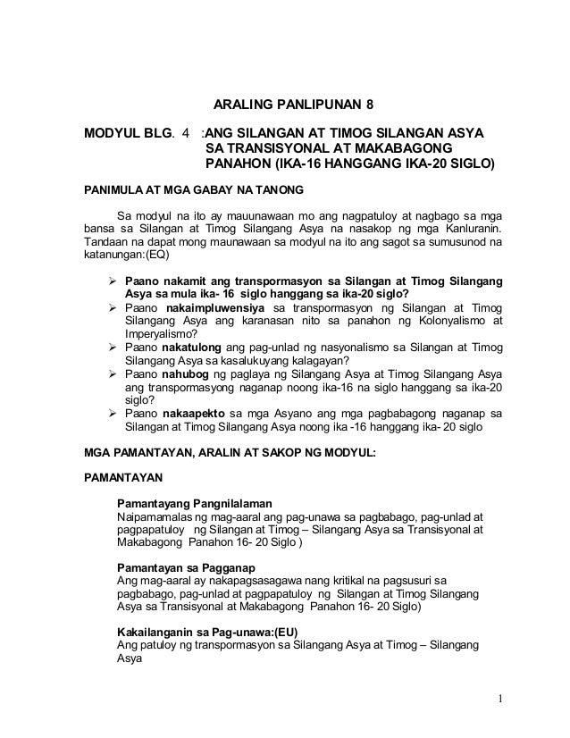 ARALING PANLIPUNAN 8 MODYUL BLG. 4 :ANG SILANGAN AT TIMOG SILANGAN ASYA SA TRANSISYONAL AT MAKABAGONG PANAHON (IKA-16 HANG...