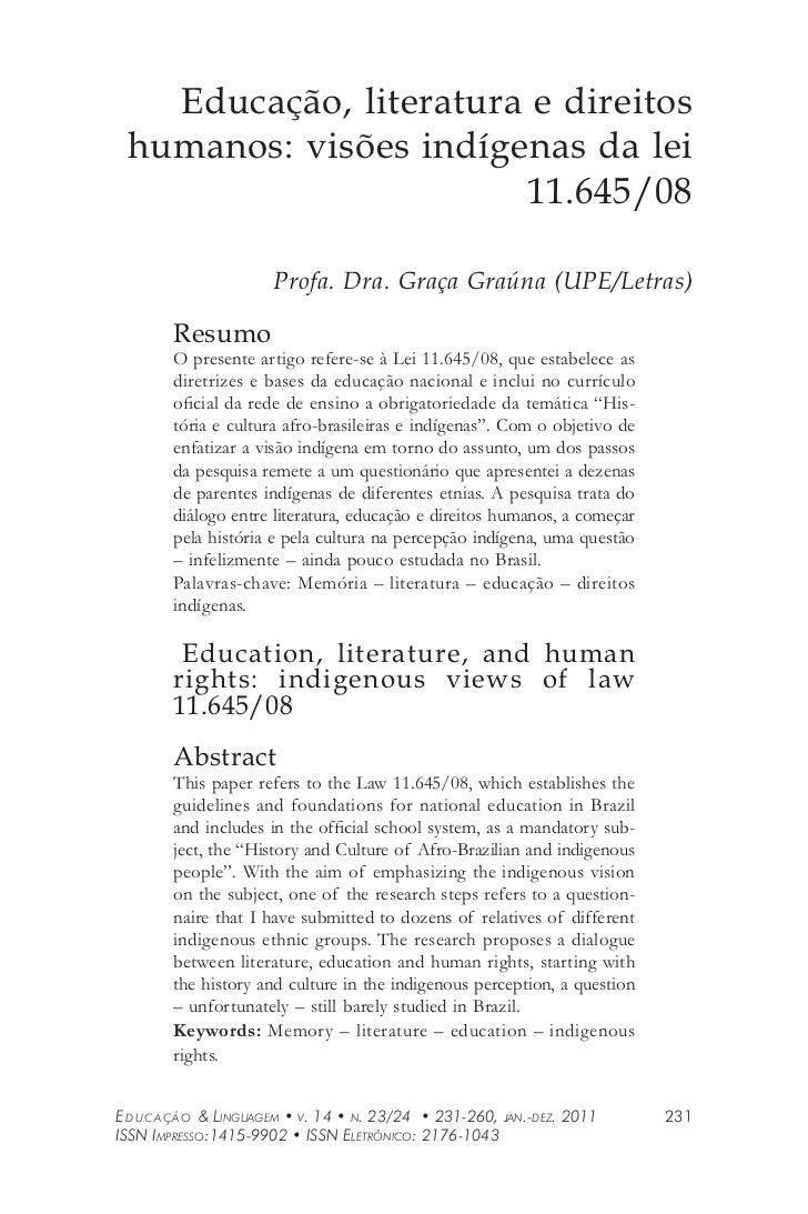 Educação, literatura e direitos humanos: visões indígenas da lei                       11.645/08                       Pro...
