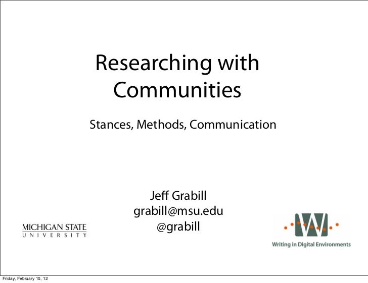 Researching with                           Communities                          Stances, Methods, Communication           ...