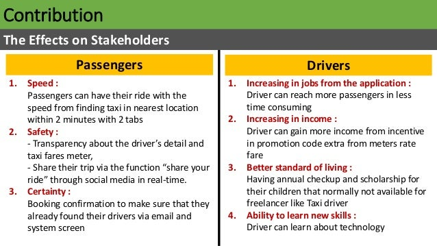 Contribution The Effects on Stakeholders Passengers Drivers 1. Speed : Passengers can have their ride with the speed from ...