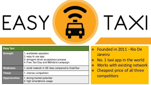 Easy Taxi Strength 1. worldwide operation 2. easy to use app 3. stringent driver acceptance process 4. Free Taxi Day and B...